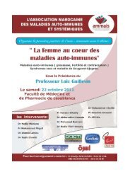 1ère Journée de l'Auto-Immunité 22 octobre 2011 Livret des résumés des interventions AMMAIS