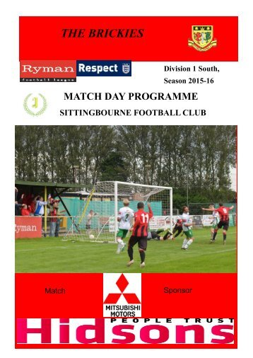 Sittingbourne v Ramsgate Match day programme 28th December 2015