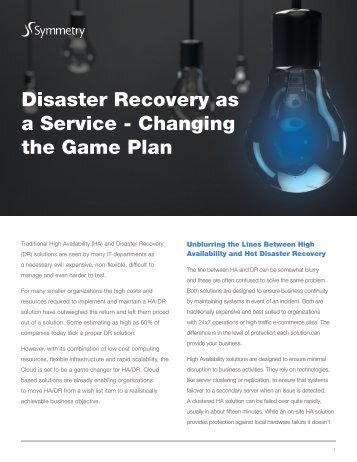 Disaster Recovery as a Service - Changing the Game Plan