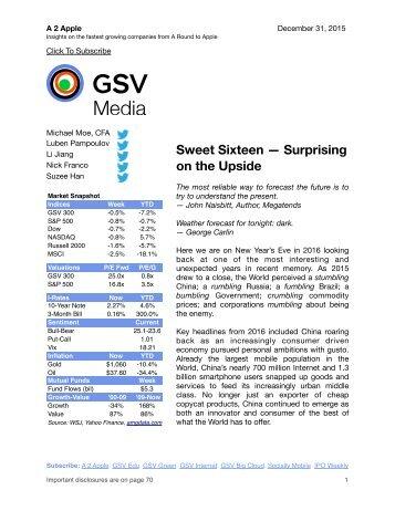 Sweet Sixteen — Surprising on the Upside