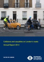 Collisions and casualties on London's roads Annual Report 2014