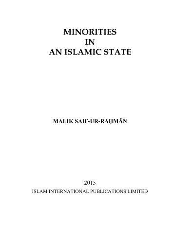 MINORITIES IN AN ISLAMIC STATE