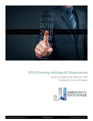 2016 Diversity Holidays & Observances