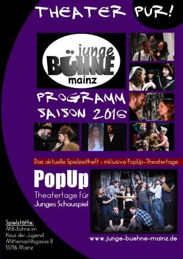 Junge Bühne Mainz - Spielzeitheft Saison 2016