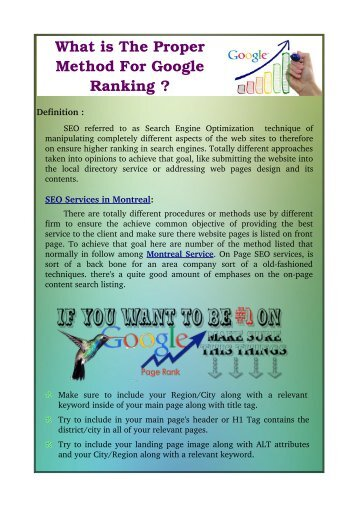 What is The Proper Method For Google Ranking ?