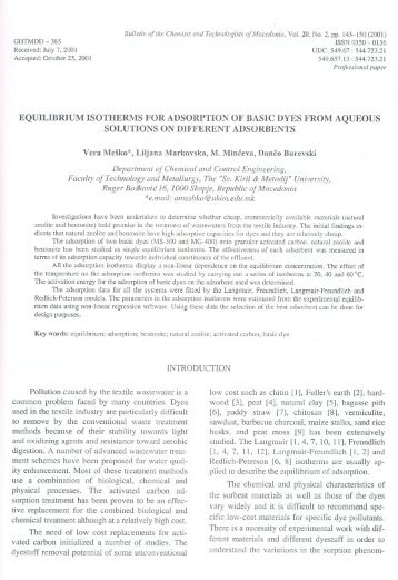 EQUILIBRIUM ISOTHERMS FOR ADSORPTION OF BASIC DYES ...