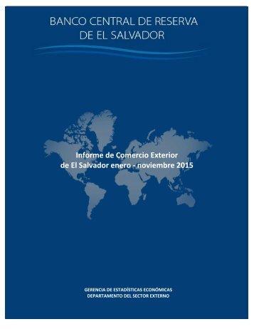 Informe de Comercio Exterior de El Salvador enero - noviembre 2015