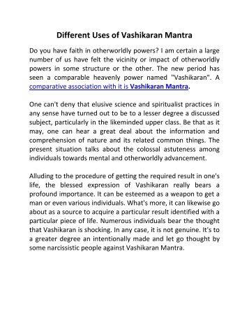 Different Uses of Vashikaran Mantra