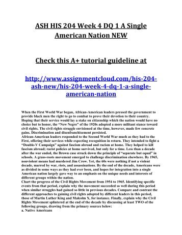 ASH HIS 204 Week 4 DQ 1 A Single American Nation NEW