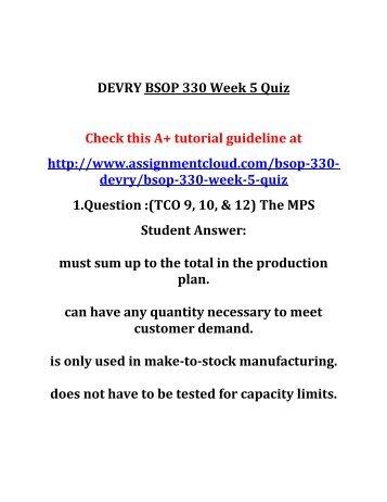 DEVRY BSOP 330 Week 5 Quiz