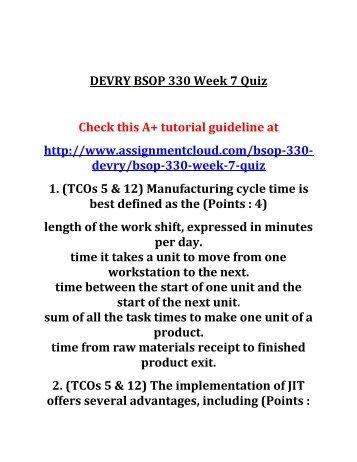 DEVRY BSOP 330 Week 7 Quiz