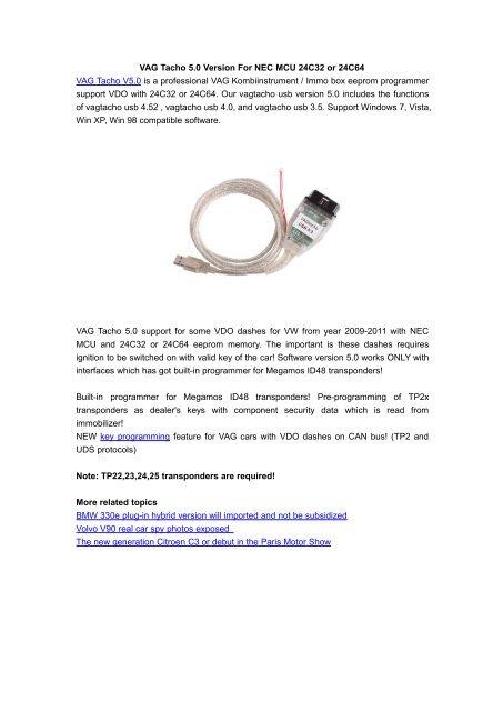 VAG Tacho 5 0 Version For NEC MCU 24C32 or 24C64