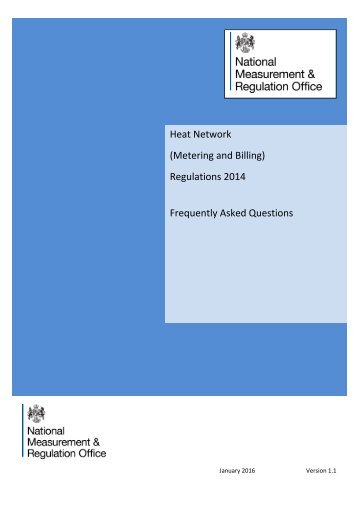 Heat Network (Metering and Billing) Regulations 2014 Frequently Asked Questions