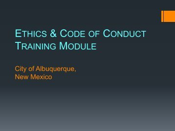 ETHICS & CODE CONDUCT TRAINING MODULE