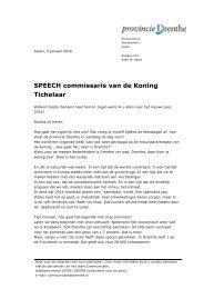 SPEECH commissaris van de Koning Tichelaar