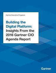 Building the Digital Platform Insights From the 2016 Gartner CIO Agenda Report