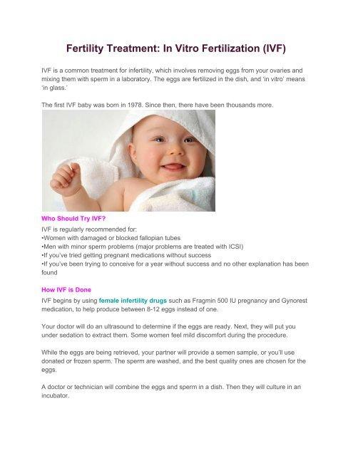 Fertility Treatment In Vitro Fertilization IVF