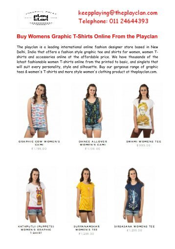 Buy Womens Graphic T-Shirts Online from Theplayclan