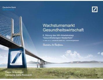 Wachstumsmarkt Gesundheitswirtschaft - Deutsche Bank Research