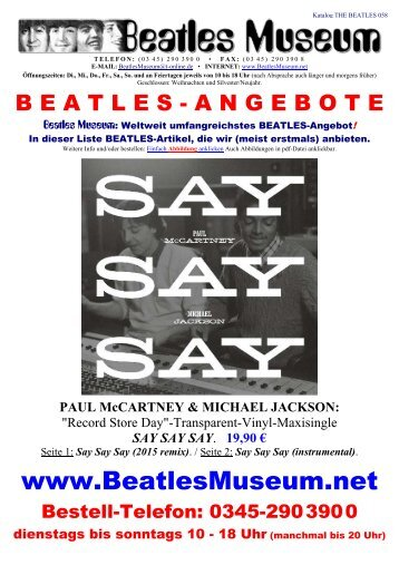 Beatles Museum - Katalog 58 mit Hyperlinks