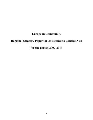 Regional Strategy Paper for Assistance to Central Asia