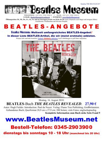 Beatles Museum - Katalog 57 mit Hyperlinks