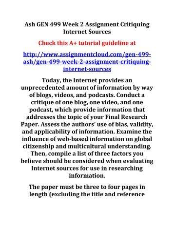 critiquing internet sources essay