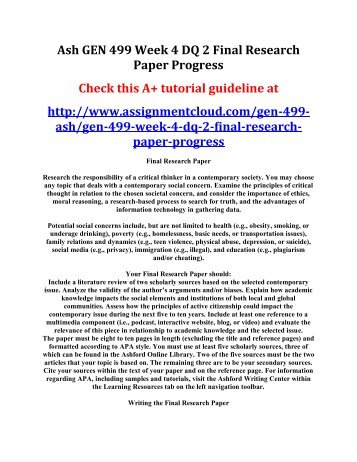 Ash GEN 499 Week 5 Assignment Final Research Paper