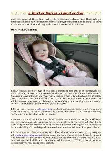 5 Tips For Buying A Baby Car Seat
