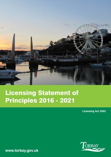 Licensing Statement of Principles 2016 - 2021