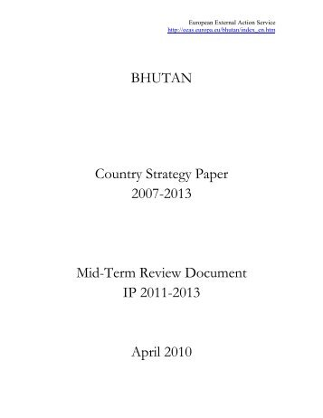 Bhutan Mid-Term Review of country strategy paper 2007-2013