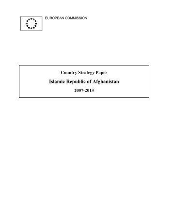 European Commission Afghanistan Country Strategy Paper 2007 ...
