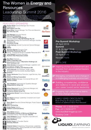 The Women in Energy and Resources Leadership Summit 2016