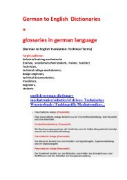 German to English Translation: Technical Terms (Dictionaries + glossaries mechanical engineering robotics information technology)