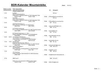 BDR-Kalender Mountainbike - BDR Bund Deutscher Radfahrer