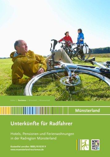 Unterkünfte für Radfahren 2016 Muensterland