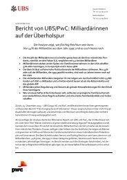 Bericht von UBS/PwC Milliardärinnen auf der Überholspur
