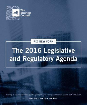 The 2016 Legislative and Regulatory Agenda