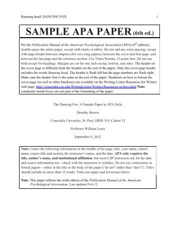 running head sample apa 1 sample apa formatted paper for