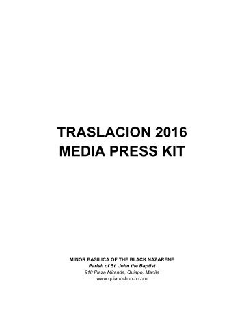 TRASLACION 2016 MEDIA PRESS KIT
