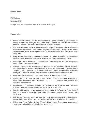 Gerhard Budin Publications December 2011.pdf ... - Universität Wien