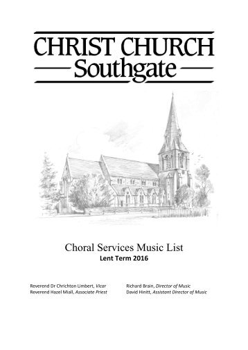 Choral Services Music List