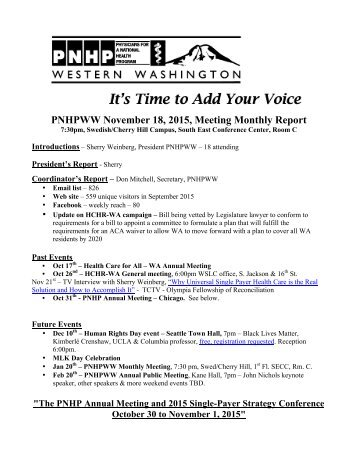 PNHPWW November 18 2015 Meeting Monthly Report