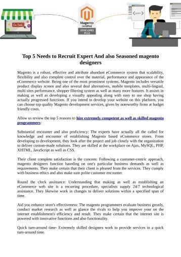 Top 5 Needs to Recruit Expert And also Seasoned magento designers