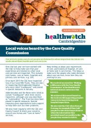 Local voices heard by the Care Quality Commission