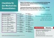 Checkliste für den Wechsel des Stromanbieters