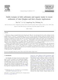 Stable isotopes in bulk carbonates and organic matter in recent ...