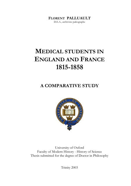 Medical Students In England And France 1815 1858 A