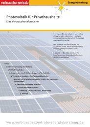 Photovoltaik für Privathaushalte - Verbraucherzentrale Niedersachsen
