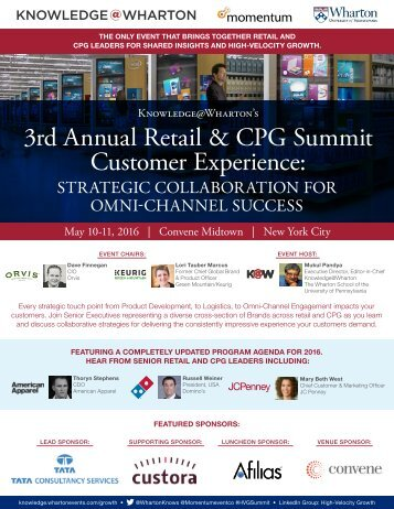 3rd Annual Retail & CPG Summit Customer Experience